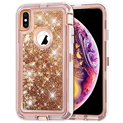 iPhone Xs MAX Case, Anuck 3 in 1 Hybrid Heavy Duty Defender Armor Case Sparkly Floating Liquid Glitter Protective Hard Shell Shockproof Anti-Slip TPU Bumper Cover for iPhone Xs MAX 6.5