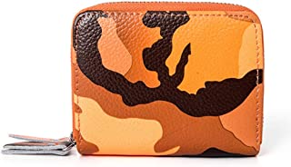 Camouflage Leather Card Holder Multi-Function Double Zipper Credit Card Holder RFID Anti-Theft Card Package ID Package (Color : Orange, Size : S)
