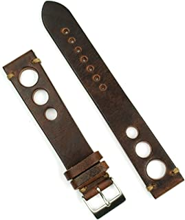B & R Bands 22mm Chestnut Classic Vintage Rallye Watch Band Strap - Large Length