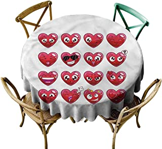Luunins Round Tablecloth Plaid Emoji,Abstract Cartoon Hearts D60,for Party