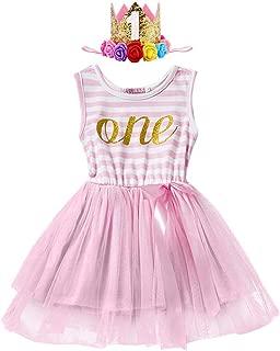 IWEMEK Little Baby Girl Shinny Stripe 1st/2nd Birthday Cake Smash Sleeveless Crown Printed Tulle Tutu Party Outfit Dress