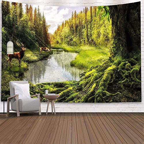 KHKJ Tapiz de Cascada 3D Natural Toalla de Playa Paisaje Bosque primitivo Impresión de Corriente Alfombra de Pared Arte del hogar Tapiz Decoración A15 95x73cm