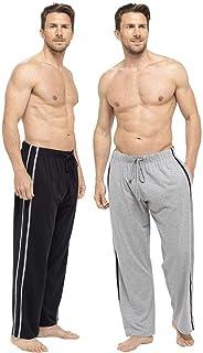 Keanu Socks Uwear Mens Long Lounge Wear Pants Nightwear (2 Pack) Pyjama Bottoms Sleepwear, Black/Grey, Double Extra Large