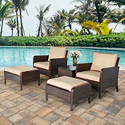 U-MAX 5 Pieces Patio Furniture Set Outdoor Chair and Ottoman Set with Cushions & Side Table, PE Wicker Rattan Lawn Pool Balcony Backyard Conversation Lounge Set, Brown