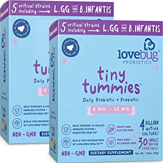 Lovebug Probiotics Tiny Tummies Probiotics, 60 Packets, Infant & Baby Probiotic Supplements for Babies 6-12 Months, Flavorless Powder - Oral Probiotics Kids - Helps Reduce Crying