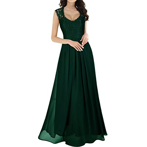 5525c2cf9e MIUSOL Women s V Neck Lace Ball Gown Long Chiffon Evening Dress