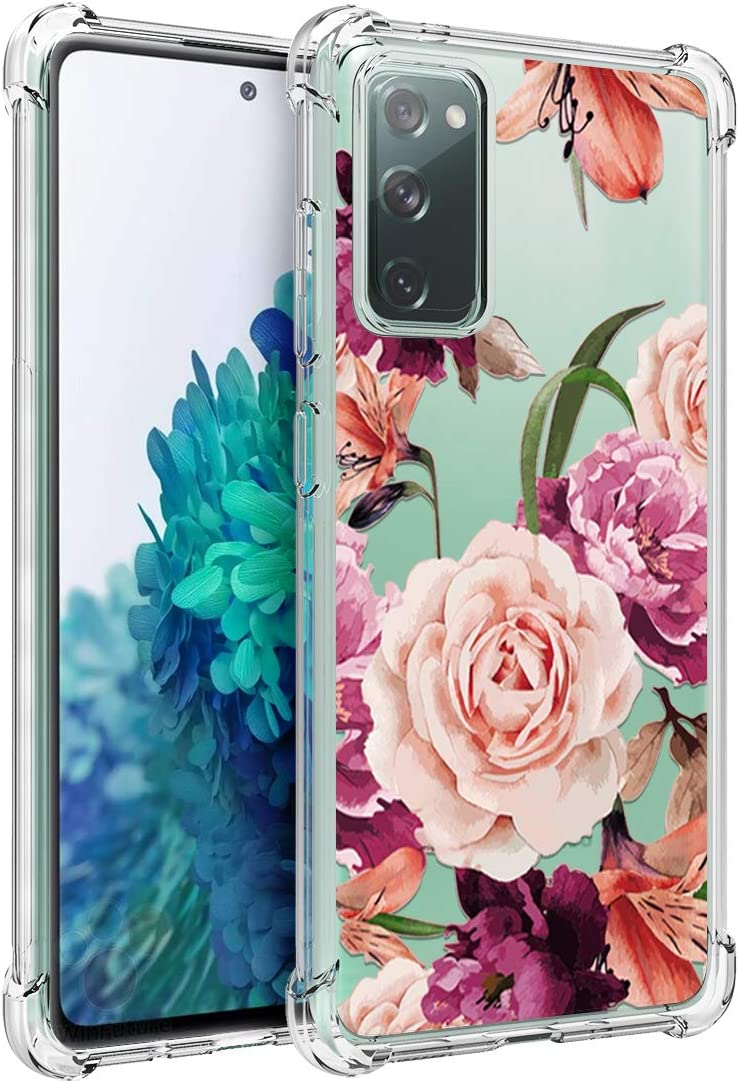 Osophter for GalaxyS20FE5G Case Flower Floral for Girls Women Shock-Absorption Flexible TPU Rubber Phone Cover for Samsung GalaxyS20FE5G(Purple Flower)