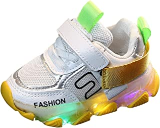Sceoyche Kids LED Light Shoes, Baby Luminous Mesh Breathable Sport Shoes Ultralight Outdoor Shoes Non-slip Velcro Walking Shoes Indoor Sneakers Running Shoes for Girls Boys
