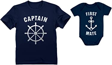 Captain & First Mate Nautical Sailing Dad Shirt & Baby Bodysuit Matching Set