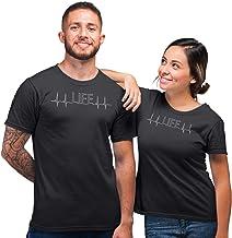 Sleepynuts Regular Fit Life Line Printed Couple Cotton T-Shirt for Men & Women (Charcoal Grey_L-Men,S-Women)