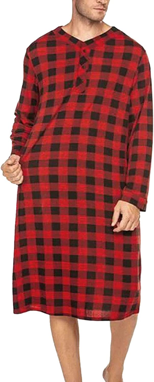 LZJDS Men Plaid Robes OFFicial Outlet ☆ Free Shipping Homewear V Long Nightgown Comf Neck Sleeve