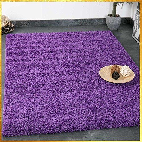 VIMODA Prime Shaggy Teppich Lila Hochflor Langflor Teppiche Modern Einfarbig, Maße:140x200 cm