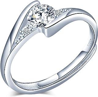 CPSLOVE Anelli donna in argento sterling 925 Regalo di nozze di Natale per San Valentino Anello con diamante a quattro artigli misura regolabile