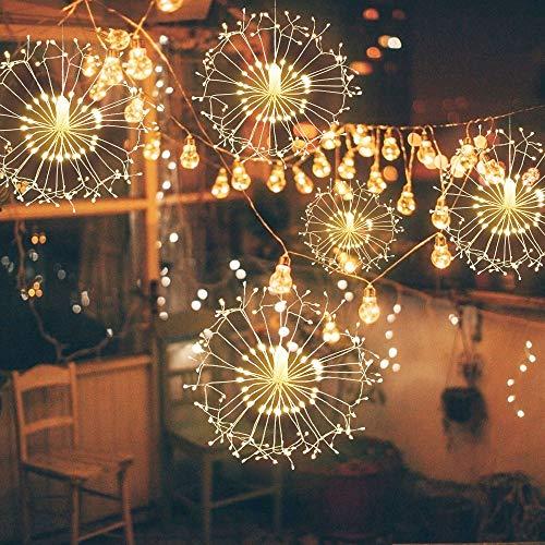 Cadena De La Linterna Del Jardín De La Luz De La Secuencia De La Estrella Del Fuego Artificial Del Alambre De Cobre Recargable con cuatro faroles blanco cálido