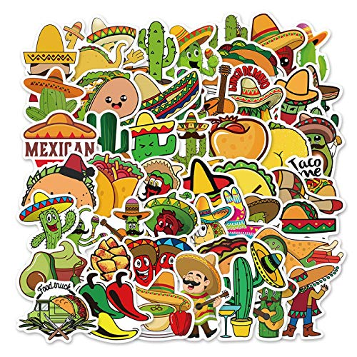 HHSM Pegatinas de dibujos animados de estilo mexicano para alimentos, graffiti, pegatinas para nevera, sin adhesivos, impermeables, 50 unidades