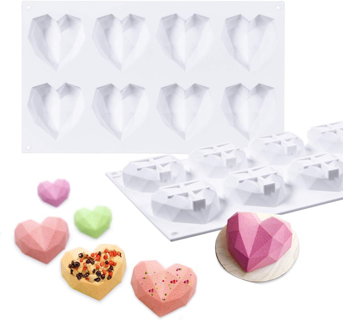 Cake Hearts Cake Gems Diamond Heart 3D Cakesicle Silicone Mould
