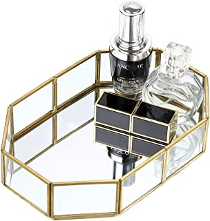 Hipiwe Gold Mirrored Makeup Tray Gold Metal Decorative Jewelry Tray Vanity Cosmetic Perfume Organizer for Dresser, Bathroom, Bedroom,Home Decor HPWSN00293
