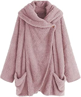 Women's Party Hoodie Plush Large Lapel Bat Sleeve Cardigan Jacket Zipped Cute Suits (Color : Pink, Size : 4XL)