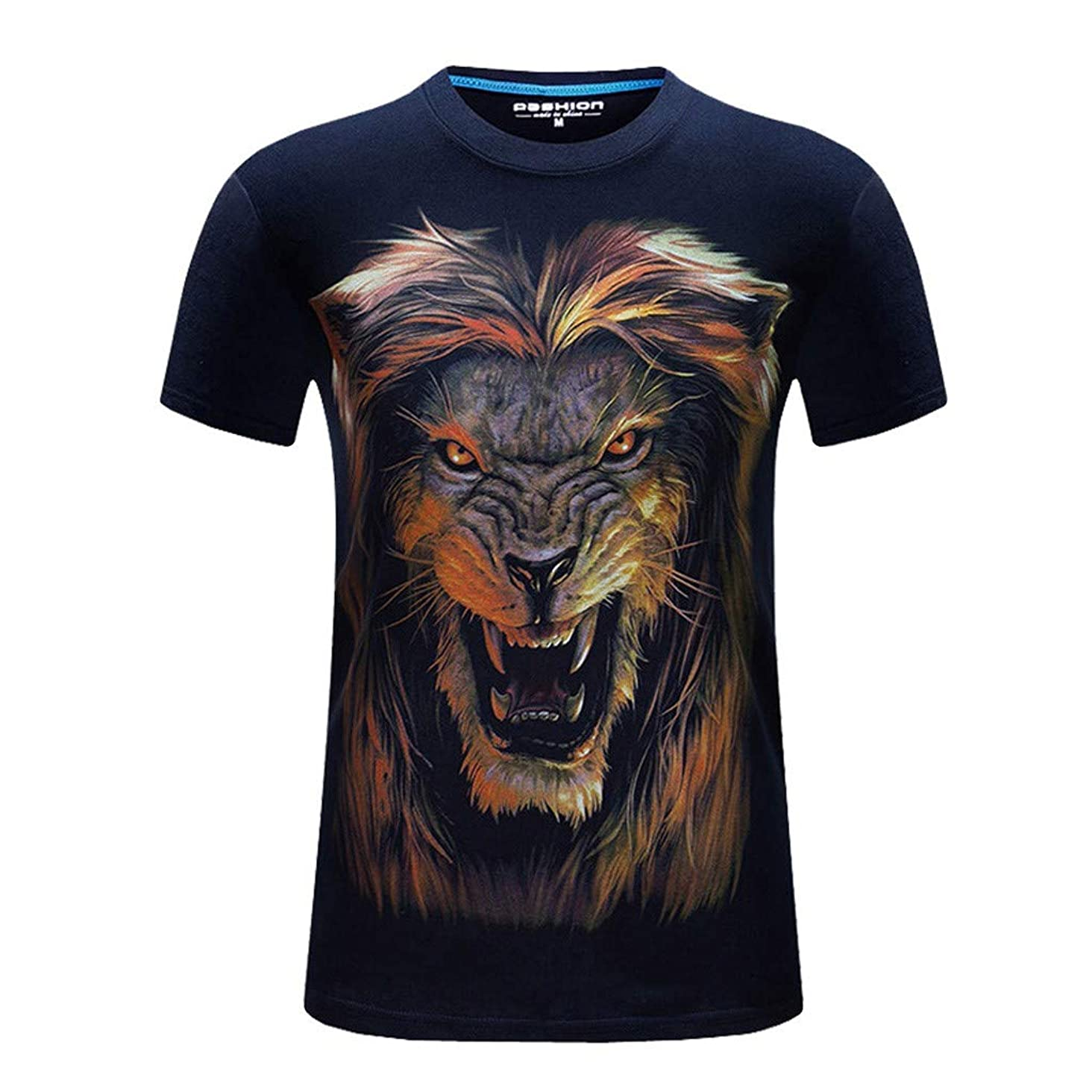 T-Shirts for Men, MmNote Fierce Lion Screaming Print Moisture Wicking Performance Training Athletic Summer Short Sleeve