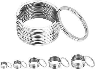 Yorgewd 50-Pack Key Rings Stainless Steel Round Split Rings Key Chain Ring Key Ring Hoop DIY Key Accessories 5 Sizes