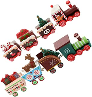 BESPORTBLE 2pcs Christmas Wooden Train Ornament with Reindder Figurine Wooden Mini Train Kids Gift Toys for Christmas Part...
