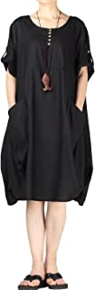 Women's Cotton Linen Dresses Plus Size Summer Roll-up Sleeve Baggy Sundress with Pockets