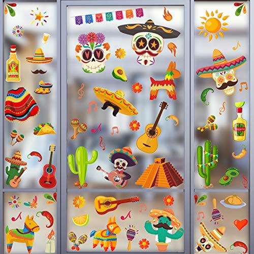 76 Stücke Mexikanische Fiesta Fenster Aufkleber Cinco De Mayo Fenster Aufkleber Kaktus Fenster Aufkleber Hut und Taco Fenster Aufkleber für Fenster Dekor Party Liefern, 8 Blätter