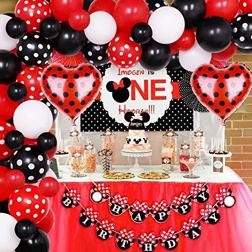 Jollyboom Minnie Decorazioni per Feste di Compleanno Forniture Kit Arco per Ghirlanda di Palloncini Minnie Rossi e Neri per Il 1 ° 2 ° 3 ° 4 ° Compleanno