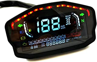 Gizayen Motorcycle LCD Digital Speedometer Odometer Backlight Durable for 2 4 Cylinder, One-Touch Multi-Function Odometer Gauges