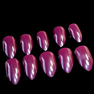 Meili Shiny Nude Stiletto False Nails Sharp Curve Simply Fake Nails For Daily Wear On The Nail Tree 24Pcs F54-83P