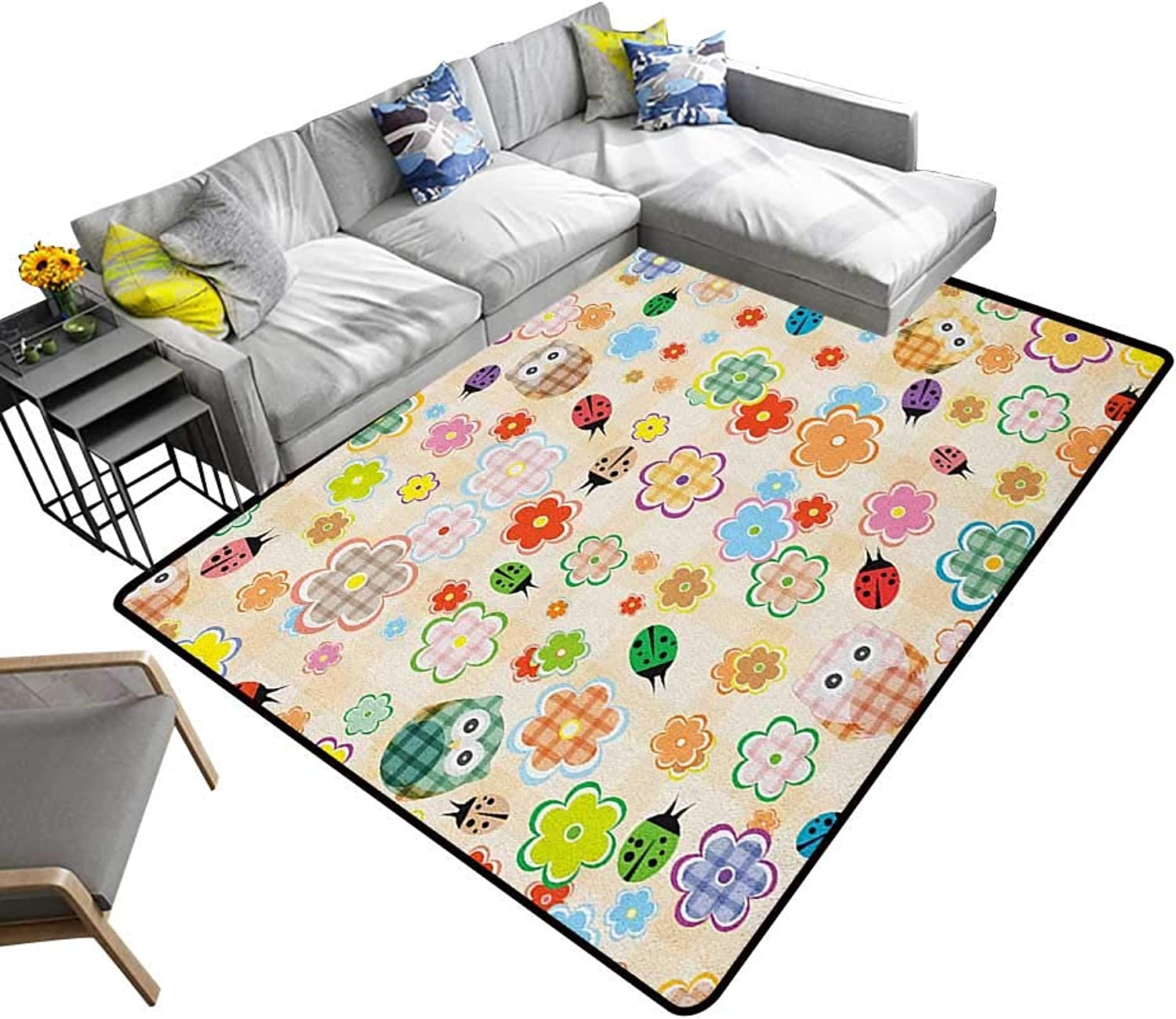 Nursery Indoor Floor mat Cute Owls and Flowers in colorful Drawing Style Nature Animal and Plant Life Fun 70 x82 ,Can be Used for Floor Decoration