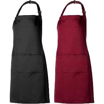 PAMIYO Schürze Kochschürze 9 Pack Küchenschürze verstellbare Schürzen mit 9  Taschen für Küche Garten BBQ Chef Kellner Bäcker (Schwarz + Rot)
