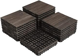 Yaheetech 27PCS Interlocking Wood Flooring Indoor Deck Patio Pavers Tiles Solid Wood Plastic Corner Edging Trim Tiles Outdoor 12 x 12in