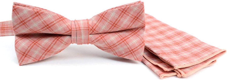 Men's Coral Plaid Cotton Bow Tie & Matching Pocket Square Set
