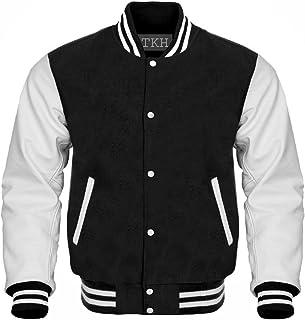70655f7f867 Letterman Baseball Varsity Jacket University College White Genuine Cow Hide Leather  Sleeves Black Wool