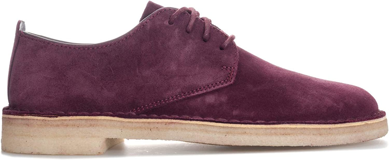 Clarks Originals Mens Desert London Suede shoes in Burgundy- Lace Fastening- Low