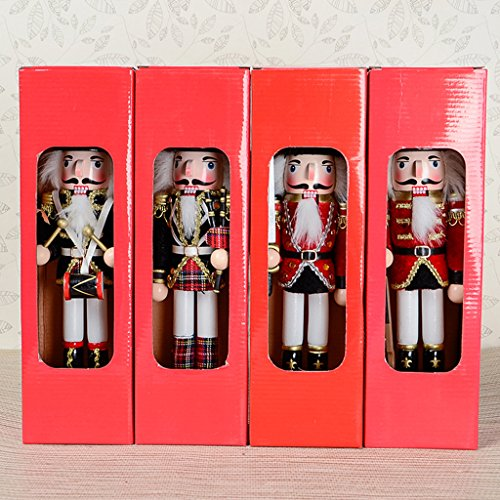 F Fityle 2 Pcs Soldier Nutcracker Hand Painted Ornaments Gift Toys Christmas Wood 30cm