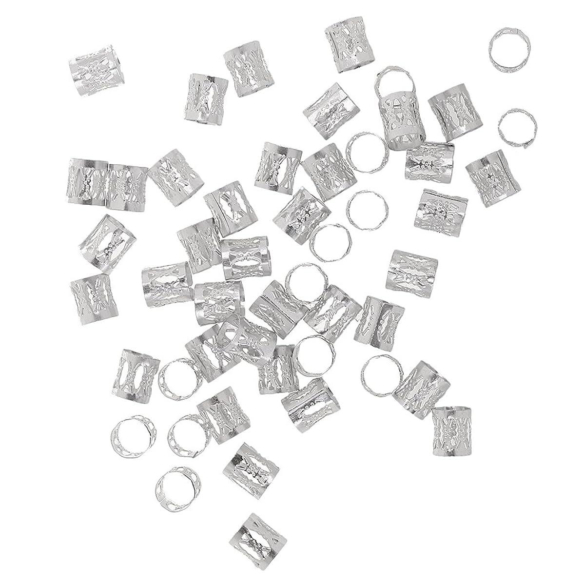 重要ラバ護衛Homyl 約50個 ヘアアクセサリー 三つ編み カフス 調整可能 ヘアエクステンション ドレッドロックス リング 全7色 - 銀