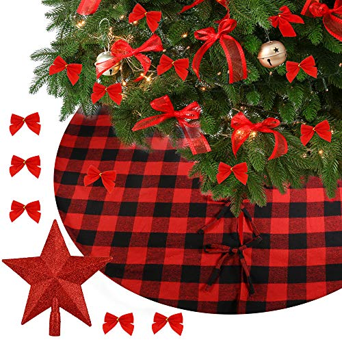 Auihiay Weihnachtsbaum-Rock aus Büffelkaro, 122 cm, Schwarz und Rot kariert, Baumspitze und Schleife für Weihnachtsdekoration, Weihnachtsdekoration
