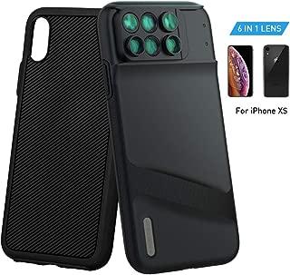 MOMAX 镜头保护套 Apple iPhone X:6 合 1 双光学镜头套件 (180°Fisheye, 2X 摄影, 120° 广角, 10X/20X Macro),双层双层保护CAMC1D iPhone X