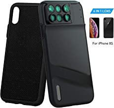 MOMAX Lens Case for Apple iPhone X: 6 in 1 Dual Optics Lens Kit (180°Fisheye, 2X Telephoto,120° Wide-Angle, 10X/20X Macro), Two Layers Double Protection (Black)