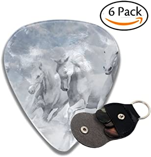 White Horses 6 Pack Unique Guitar Gift for Electric Guitar,Acoustic Guitar,Mandolin,and Bass .96mm Celluloid Guitar Picks