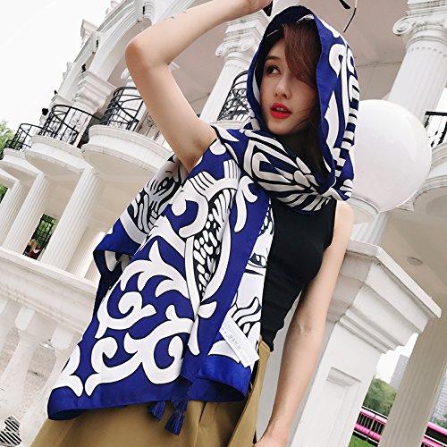 SAIBANGZI Bufandas de Seda de Verano de Las Mujeres pañuelo de algodón Chal Bufandas Toalla de Playa de mar. Löwe Blau.