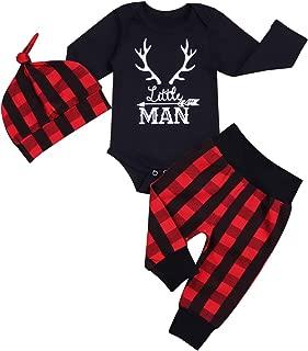 Newborn Infant Baby Boy Clothes Long Sleeve Romper,Deer Plaid Pant+ Little Man Hat 3Pcs Outfits Set
