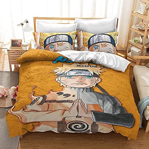 DLKN Conjunto de ropa de cama de anime impreso 3D Naruto Anime Duvet Funda Juego Conjunto de 3 piezas (1 colcha cubierta + 2 pillowcasas), Uzumaki Naruto Juego de cama para niños adolescentes Anime Fa
