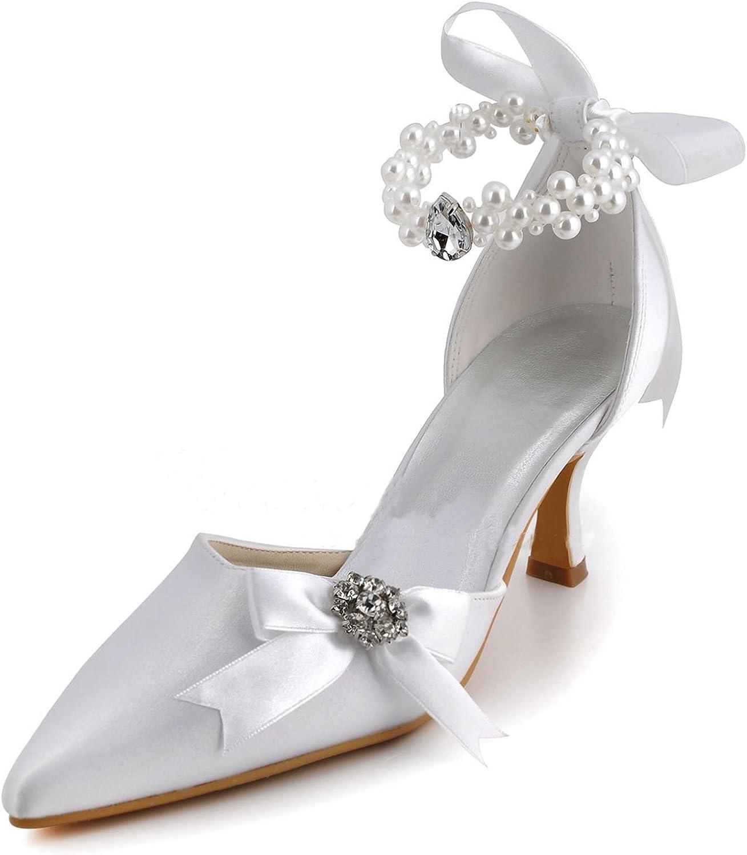 Minitoo Womens MZ560 Pointy Toe Kitten Heel Beaded Backstrap Satin Bridal Pumps