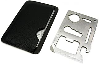 CONNECTWIDE Stainless Steel 11 in 1 Credit Card Wallet Knife Survival Multitool, Set of 3, Silver