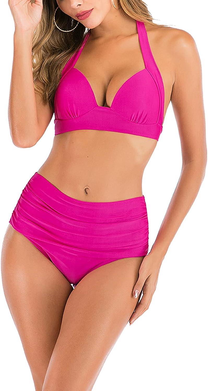 CouieCuies Women's Fashion Bikini Swimsuits High Waisted Plus Size