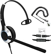 TruVoice HD-500 Deluxe Single Ear Noise Canceling Mic Office/Call Center Headset with U10P Bottom Cable Works with Mitel, Nortel, Avaya Digital, Polycom VVX, Shoretel, Aastra, Digium, Fanvil + More