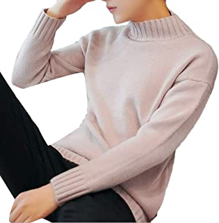 ZXFHZS Mens Casual Slim Stripe Long Sleeves Mock Neck Sweater Pullovers